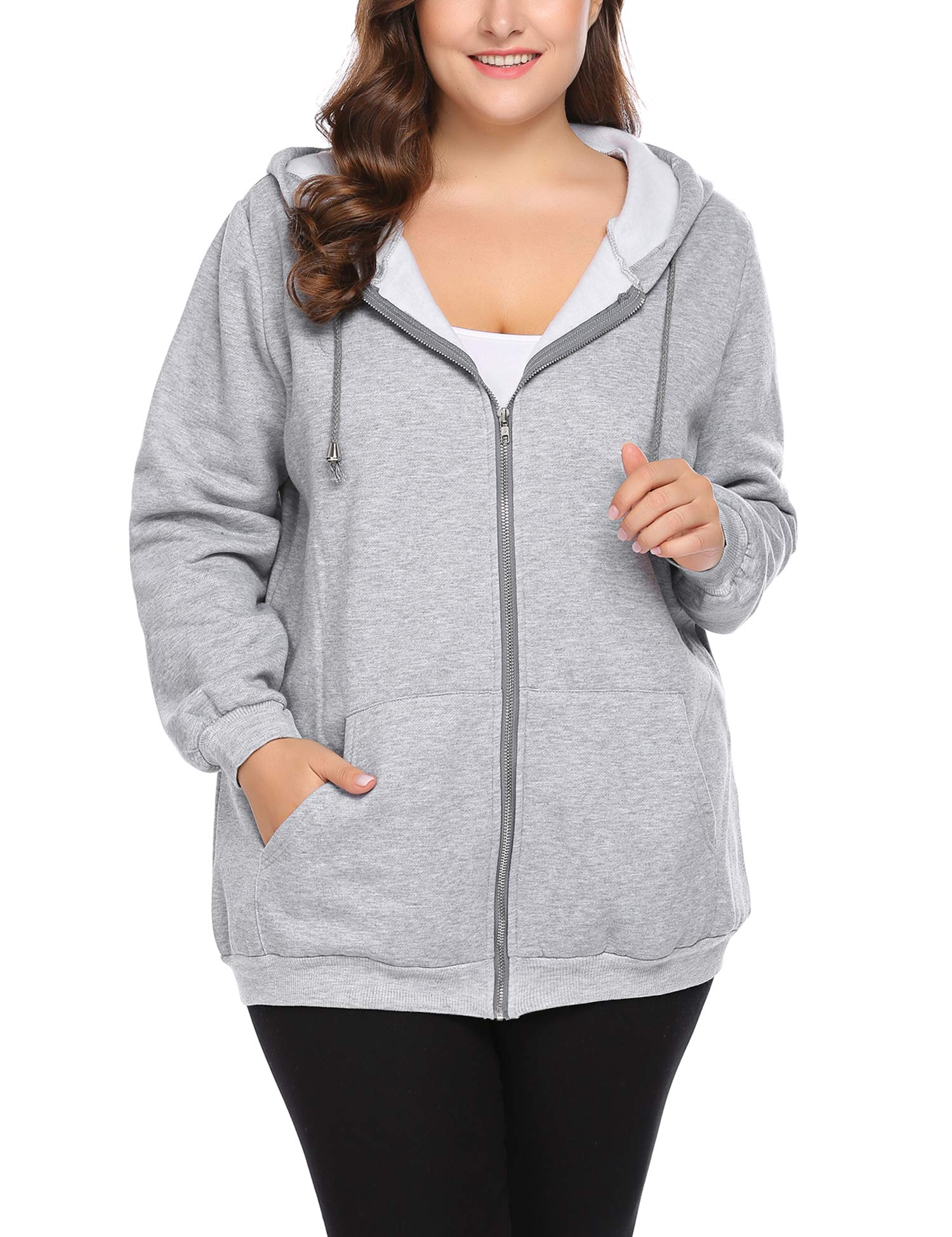 IN'VOLAND Plus Size Women Active Soft Full-Zip Hoodie Jacket with Pocket