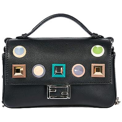 7f8cf4c943 Fendi women s leather cross-body messenger shoulder bag double micro  baguette bl  Amazon.co.uk  Shoes   Bags