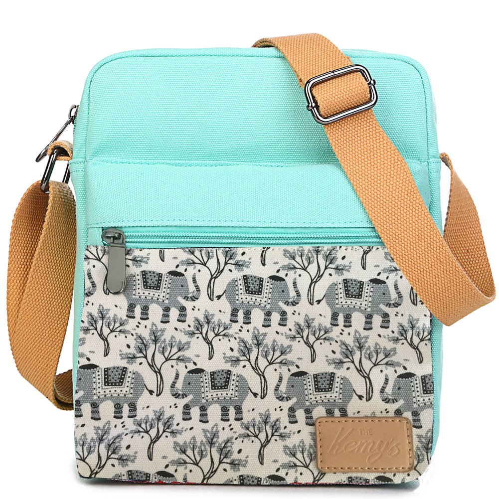Kemy's Girls Elephants Crossbody Bag Set Canvas Small Cross Body Bags for Women Messenger with Matching Wristlet Bag for Traveling Gift (Teal Gray)