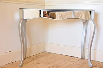 Mirrored Glass Dressing Table Console Table With One Drawer And Solid Wood  Silver Legs