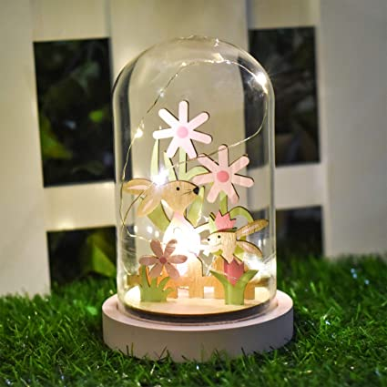 Valery Madelyn Easter Glass Dome Table Decorations With Led Light