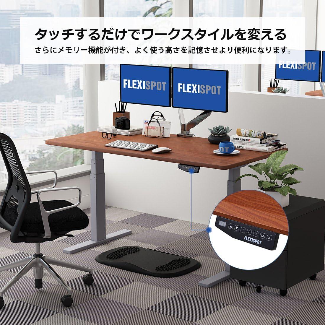 FLEXISPOT,スタンディングデスク 電動式 ,白い机,立ち仕事,PC作業用デスク,昇降デスク