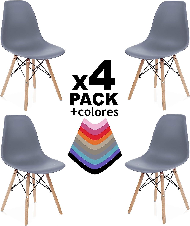 duehome - Nordik - Pack 4 sillas, Silla de Comedor, Salon, Cocina o Escritorio, Patas Madera de Haya, Dimensiones: 47 x 56 x 81 cm de Altura (Marrón) Gris DPX3oR