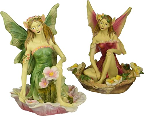Design Toscano Fairy of Acorn Hollow Statue Set of Red and Green