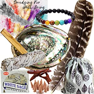 Smudge Kit Spiritual Set - Large Abalone Shell, Wood Stand, White Sage Smudging Stick, Sage Incense Cones, Smudging Feather, 7 Stone Chakra Bracelet (Unisex), Complete Starter Set and Positive Vibes