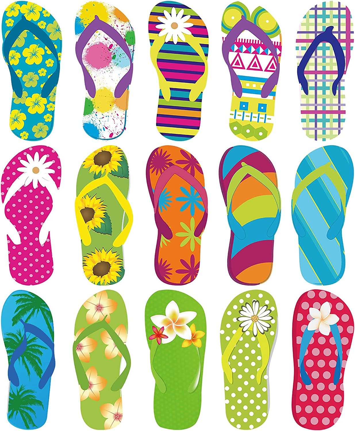 60 Pieces Flip-Flop Accents Colorful Flip-Flop Cutouts Bulletin Board Cutouts Wall Decor Hawiian Party Cutouts with Glue Point Dots for Classroom Party Decor