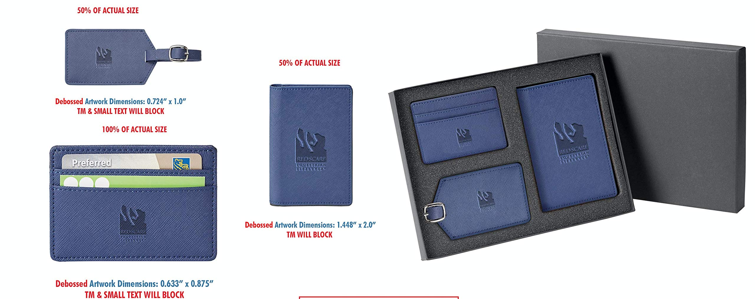 Red Scarf Equestrian Travel Documents Holder Set