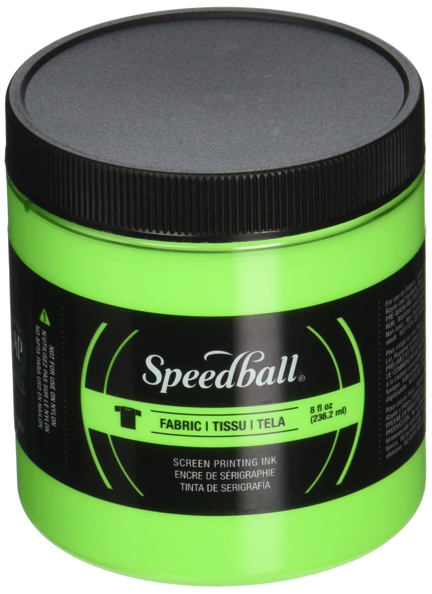 Speedball Art Products Fluorescent Fabric Screen Printing Ink, 8 oz, Lime Green by Speedball
