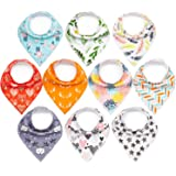 """10-Pack Baby Bandana Bibs Upsimples Baby Girl Bibs for Drooling and Teething, 100% Organic Cotton, Soft and Absorbent Hypoallergenic Bibs 