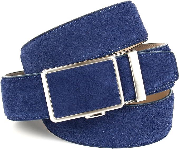 Breite 3,5cm Blau Anthoni Crown Designer Herren Ledergürtel mit Kreuzmuster