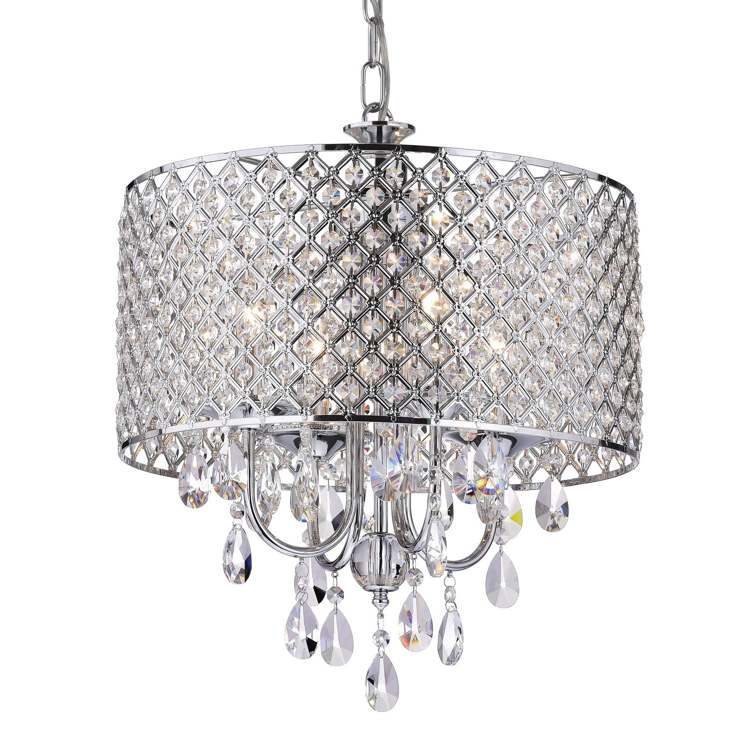 EDVIVI EPG801CH Chrome Finish Drum Shade 4-Light Crystal Chandelier Ceiling  Fixture, Round - - Amazon.com - EDVIVI EPG801CH Chrome Finish Drum Shade 4-Light Crystal