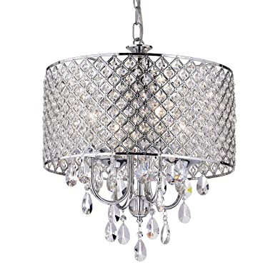 Edvivi Marya 4-Lights Chrome Round Crystal Chandelier Ceiling Fixture Beaded Drum Shade