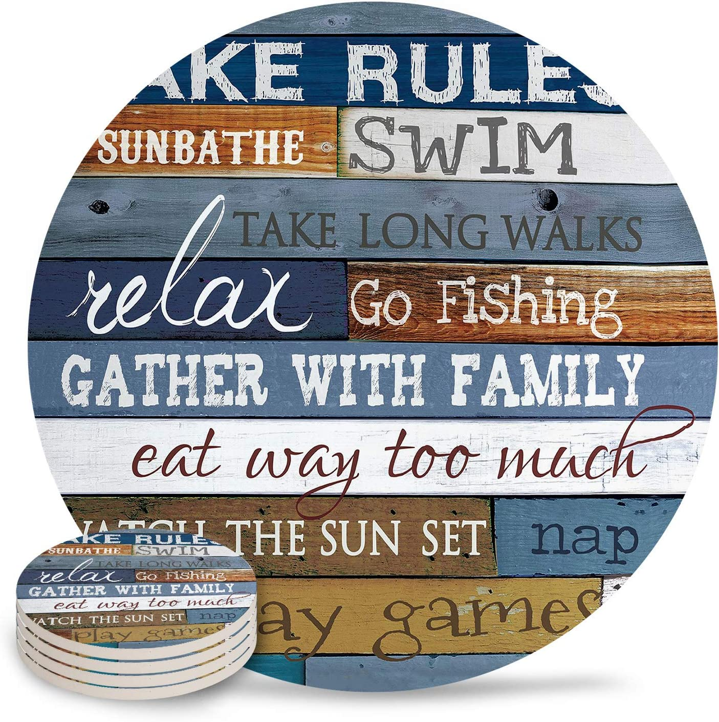 Ceramic Coasters for Drinks, Wood Charaters Lake Rules Absorbent Stone Coasters Set of 6 PCS with Cork Base for Kitchen House Bar Parties Gift, Stripe Colorful
