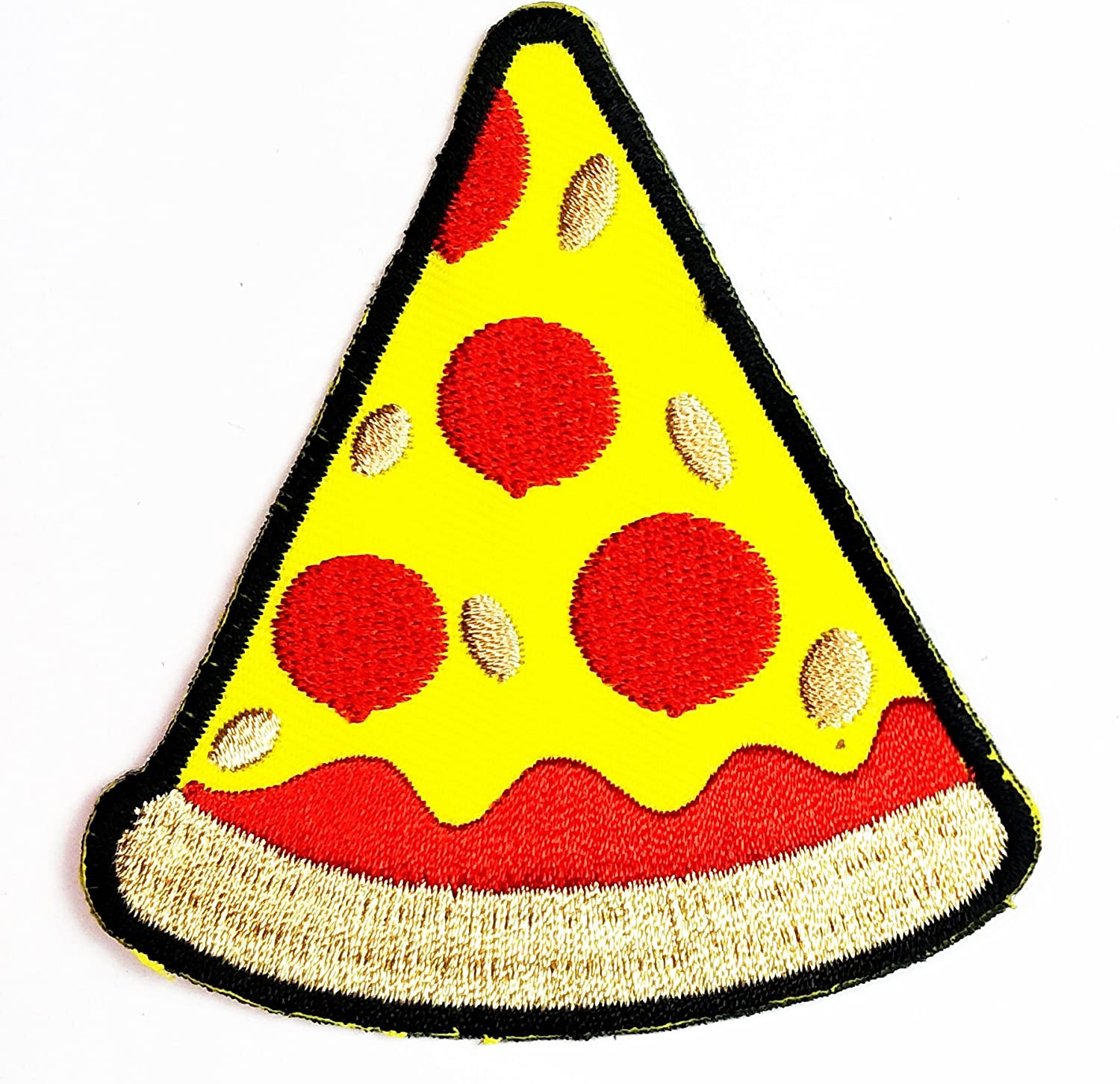HHO Pizza Slice Italian Fast Food Patch Logo Sew Iron on Embroidered Appliques Patch Embroidered DIY Patches, Cute Applique Sew Iron on Kids Craft Patch for Bags Jackets Jeans Clothes