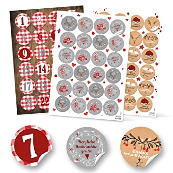 Christmas Sticker Set 24 Advent Calendar Number Squared 48 Grey