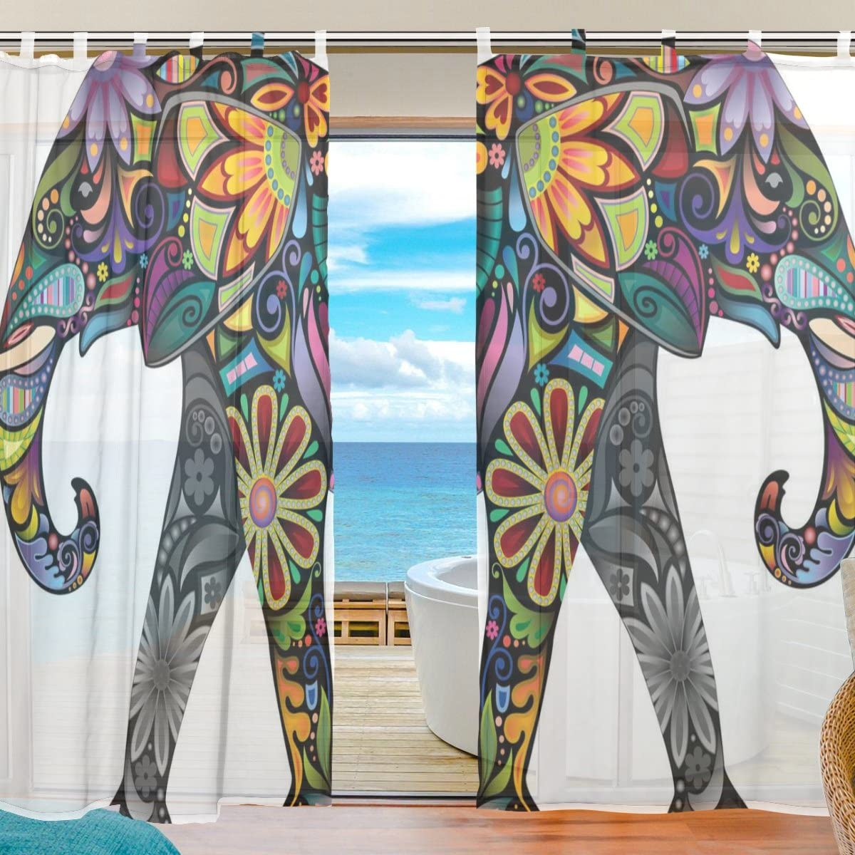 INGBAGS Bedroom Decor Living Room Decorations Elephant Pattern Print Tulle Polyester Door Window Gauze Sheer Curtain Drape Two Panels Set 55×78 inch,Set of 2