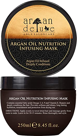 Argan Deluxe Hair Mask in professional quality 8.45 fl oz - hair treatment with argan oil for intensive care - to achieve pure smoothness and shine