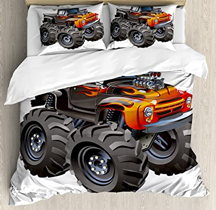 Lunarable Boys Room Duvet Cover Set Queen Size, Monster Truck in Flame Big Hobby Sports
