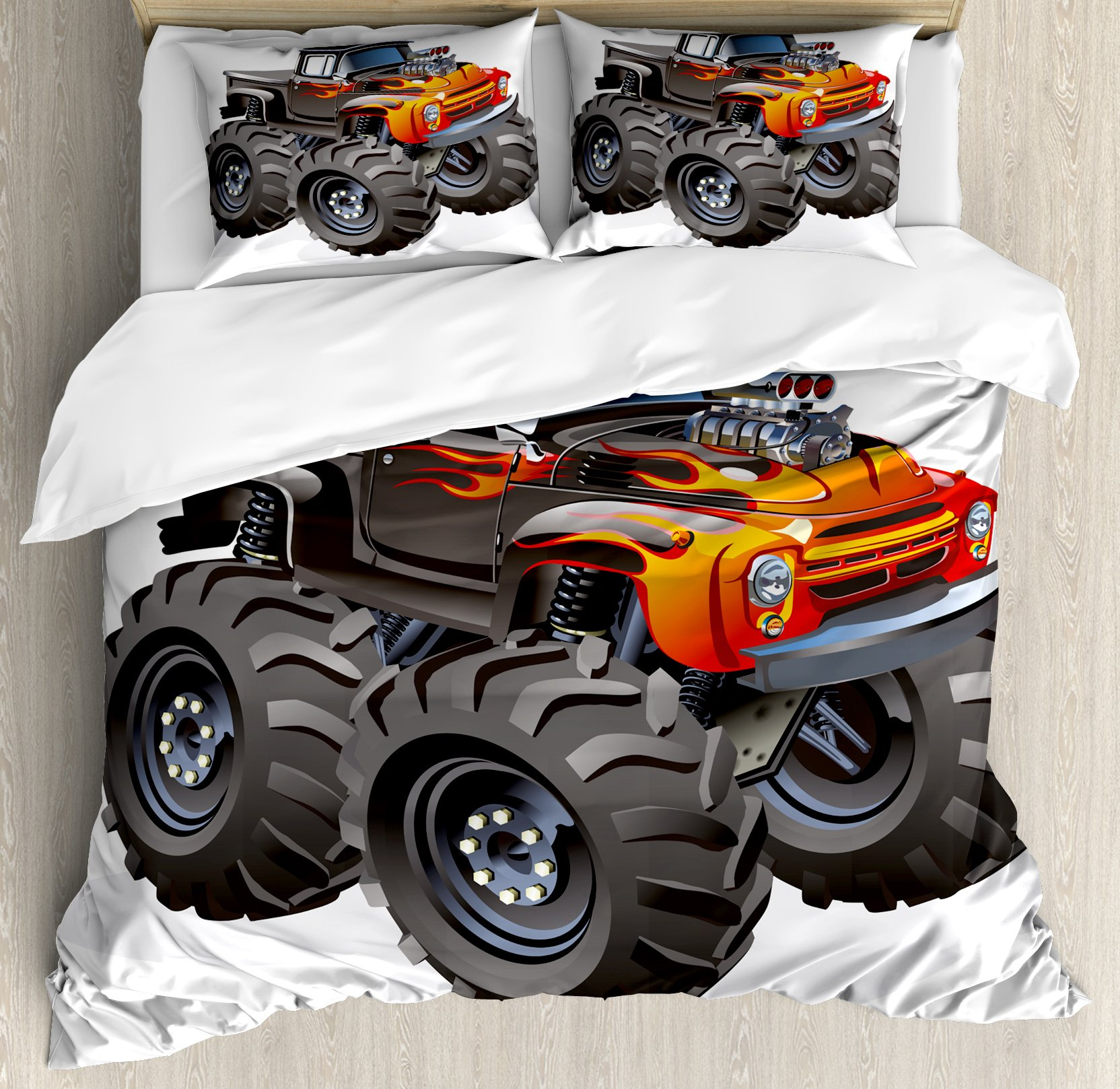 Lunarable Boy's Room Duvet Cover Set Queen Size, Monster Truck in Flame Big Hobby Sports Exotic Automobile Style Image, Decorative 3 Piece Bedding Set with 2 Pillow Shams, Charcoal Grey Orange by Lunarable (Image #1)