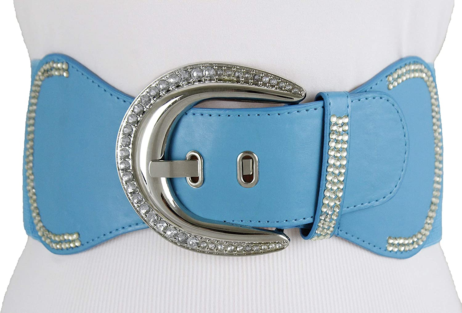 Women Fashion Belt Silver Metal Bling Buckle Wide Light Blue Elastic Band  S M