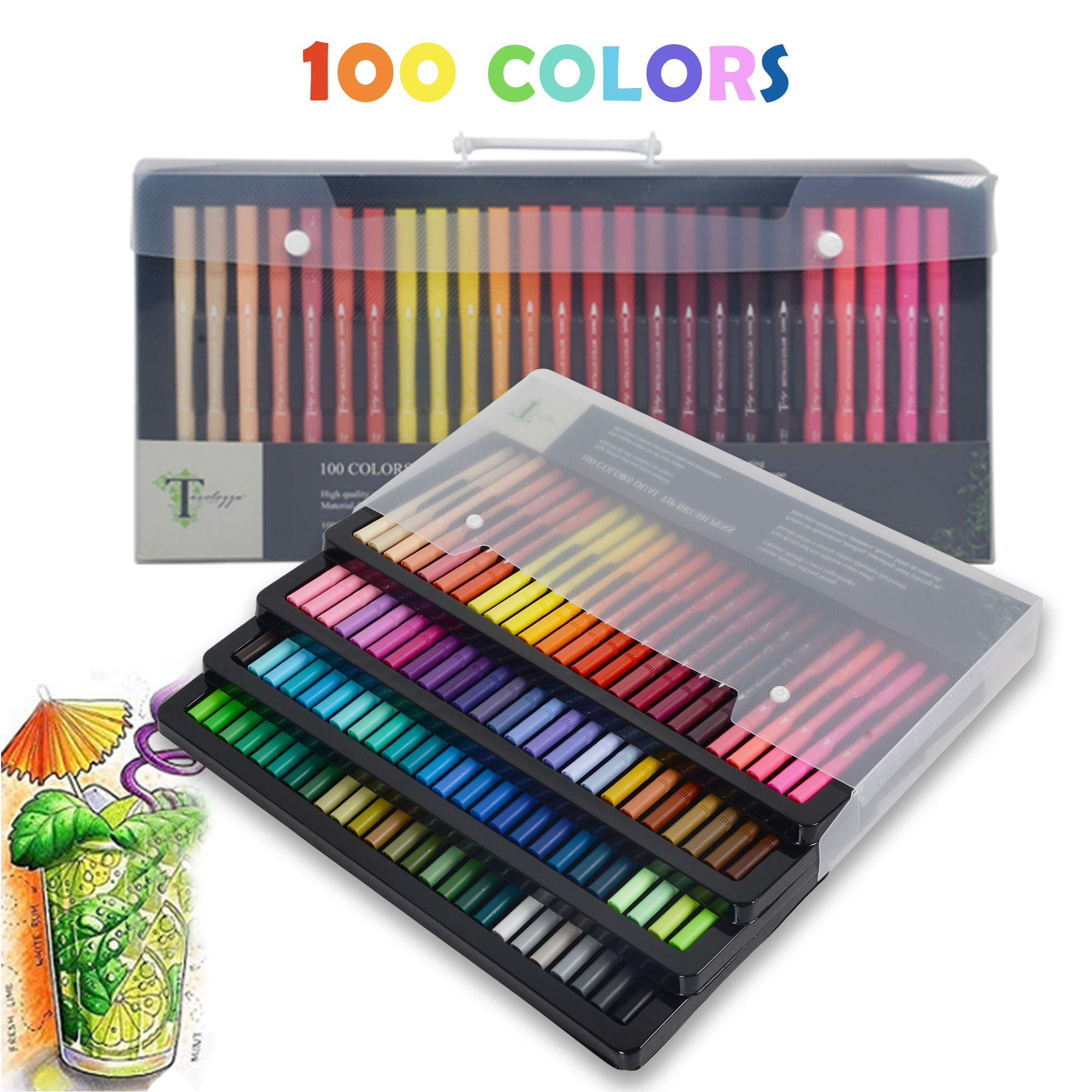 Tavolozza 100 Pcs Dual Tip Brush Pens Coloring Markers with Fineliner Tip 0.4 and Highlighters Brush Tip for Art Marker Brush Tips, Calligraphy, Manga, Bullet Journal by TAVOLOZZA