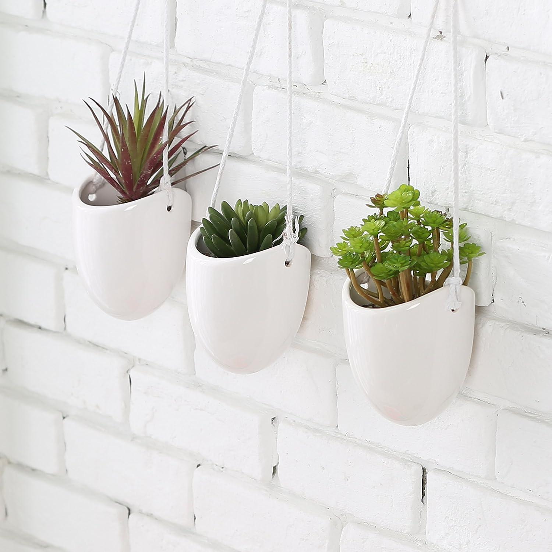 Mygift Modern Ceramic Hanging Planters Succulent Plant Pots Set Of 3 White Garden Outdoor