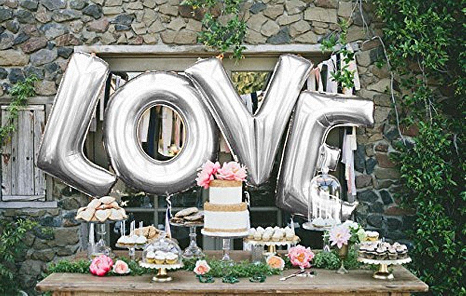 B-G 40'' LOVE Balloon Set Bridal Shower Party Birthday Vow Renewal Wedding Decoration (Sliver)