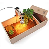Easipet Tortoise Table Small Pet Reptile Wooden House Hide Shelter Den with Run and Lamp Arm