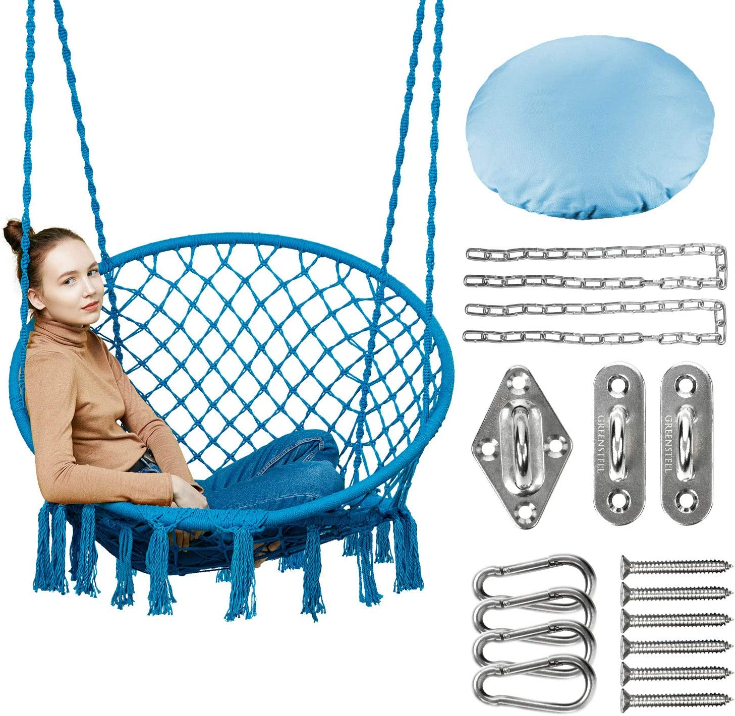 Greenstell Hammock Chair Macrame Swing with Hanging Kits, Hanging Cotton Rope Swing Chair, Comfortable Sturdy Hanging Chairs for Indoor, Outdoor, Home, Patio, Yard, Garden, 330LBS Capacity (Blue)