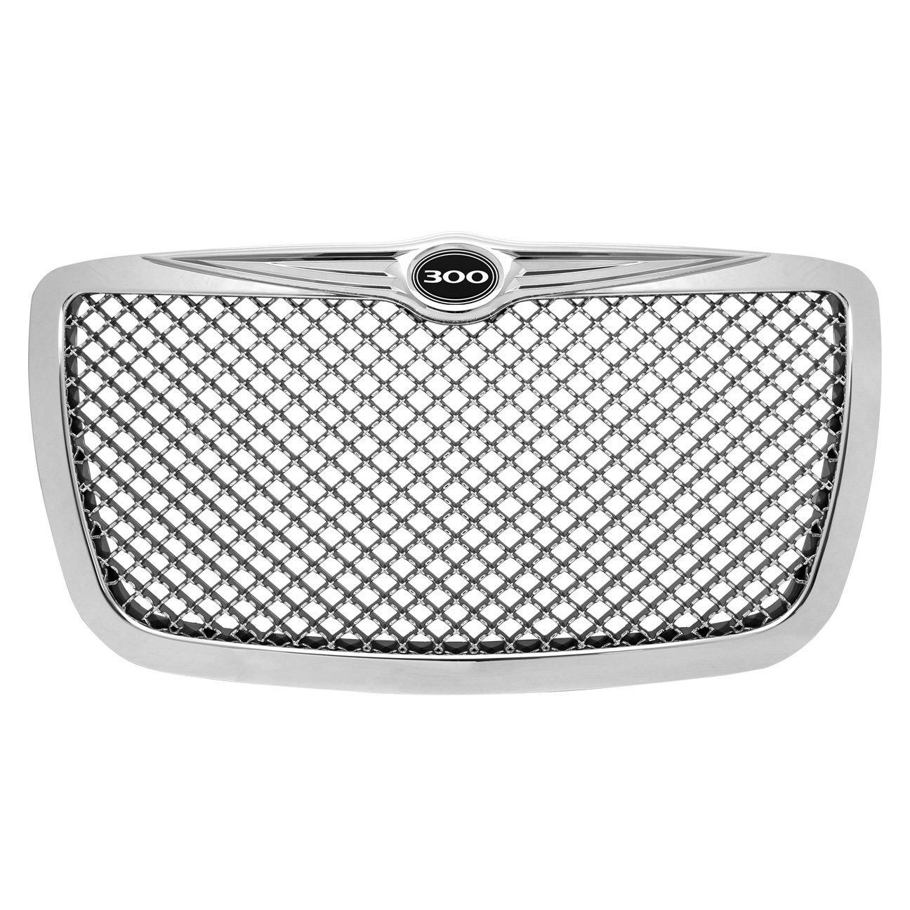 Ajp Distributors For Chrysler 300 300C Logo Emblem Badge Chrome Diamond Mesh Front Hood Bumper Grille Grill Replacement Upgrade