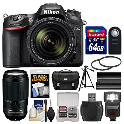 Nikon D7200 Wi-Fi Digital SLR Camera & 18-140mm VR DX & 70-300mm VR Lens  with 64GB Card + Case + Flash + Battery + Tripod + Filters + Kit