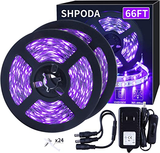 SHPODA 66ft/20M LED Black Light Strip Kit,1200 Units Lamp Beads, 385nm-400nm,12V Flexible Blacklight Fixtures,20M LED Ribbon,Non-Waterproof for Indoor,Birthday,Wedding,Dark Party