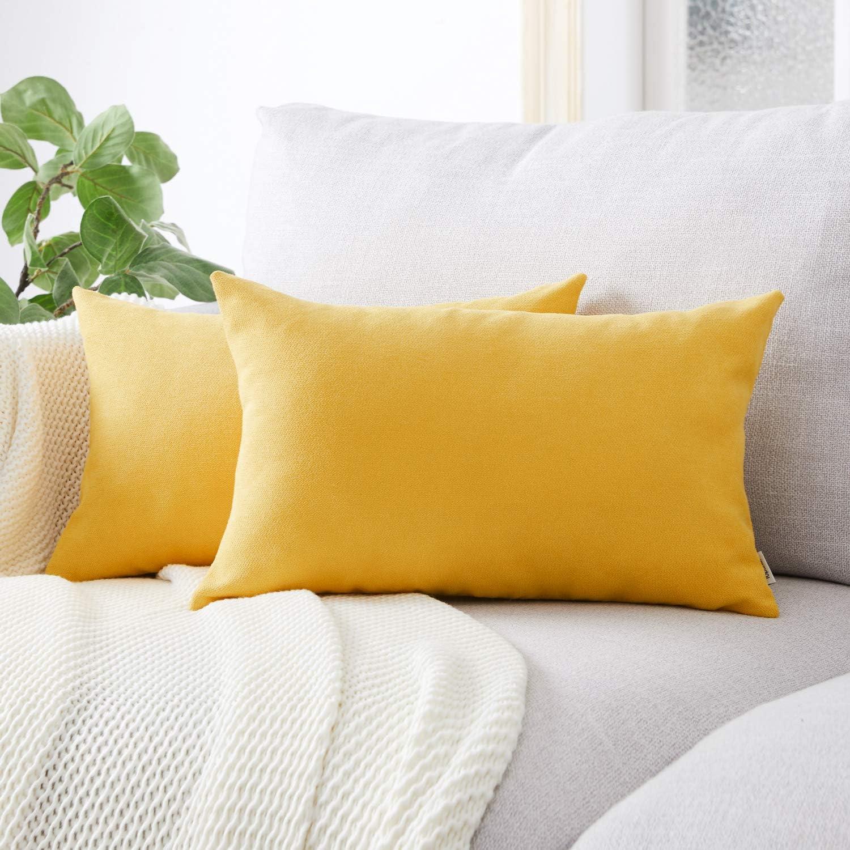 Topfinel juego 2 Hogar Fundas Cojines Algodón Lino Decorativa Almohadas Fundas de Color sólido para Sala de Estar sofás Dormitorio Jardín Coche Amarillo 30x50cm