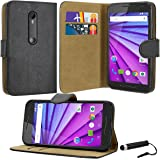 Case Collection® Premium Quality Leather Book Style Wallet Flip Case Cover With Credit Card & Money Slots For Motorola Moto G 3rd Gen