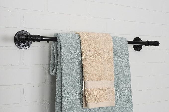 Pipe Decor - Juego de accesorios para barra de toalla, montaje en pared, hierro rústico resistente acabado galvanizado negro libre de óxido con accesorios ...