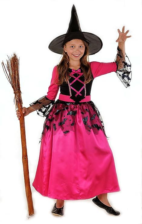 Magicoo •Strega Pipistrello - Costume Strega Bambina Rosa Nero con Cappello  da Strega- 3bb0077eca17