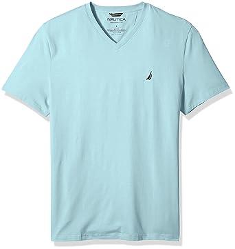 7bf8b2d6 Nautica Men's Short Sleeve Solid V-Neck T-Shirt, Harbor Mist, X