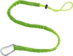 Ergodyne Squids 3100 Tool Lanyard with Single Carabiner and Adjustable Loop End, Standard Length, Lime