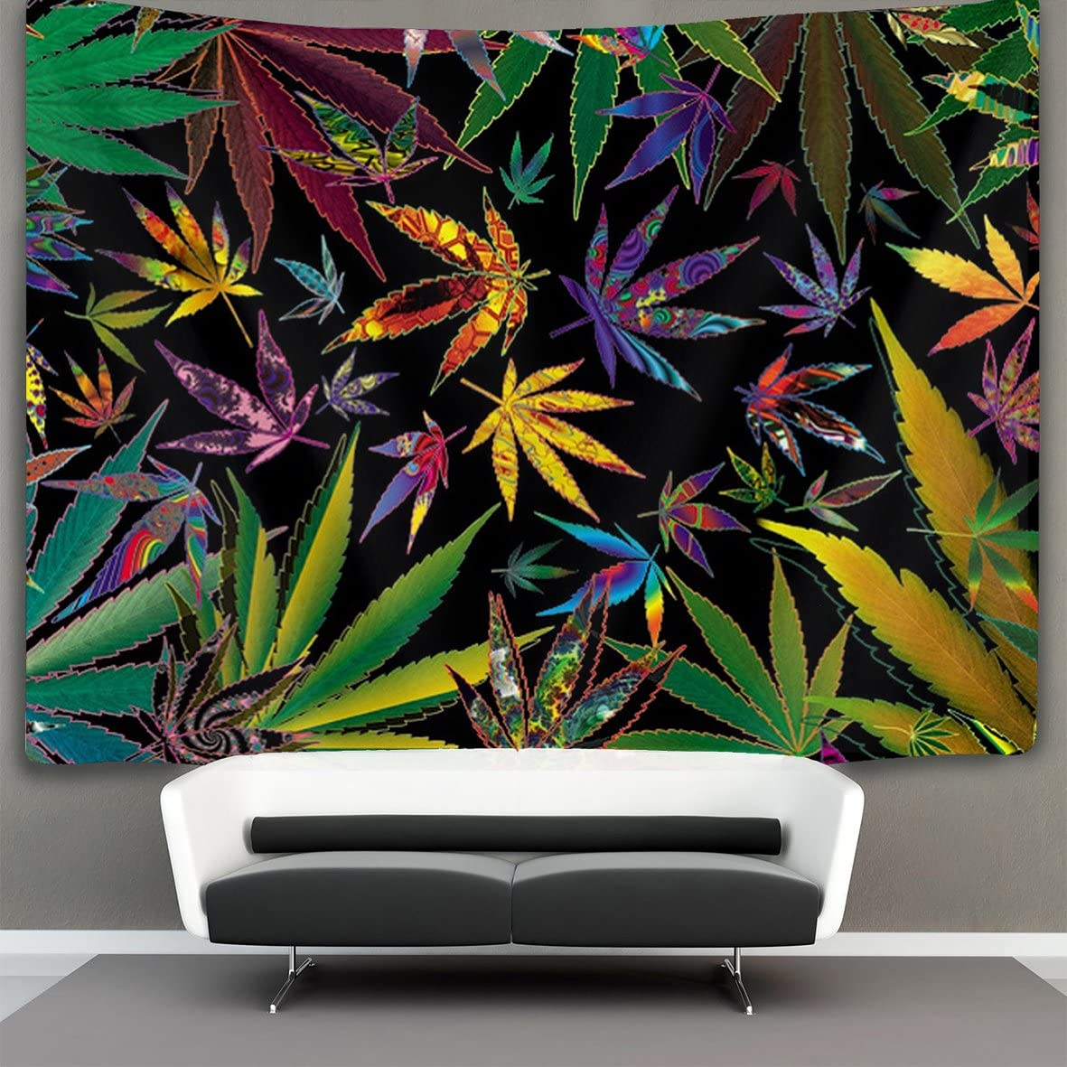 NiYoung Trippy Multi Marijuana Leaf Weed Wall Tapestry Hippie Art Tapestry Wall Hanging Home Decor Extra Large tablecloths 60×90 inches for Bedroom Living Room Dorm Room