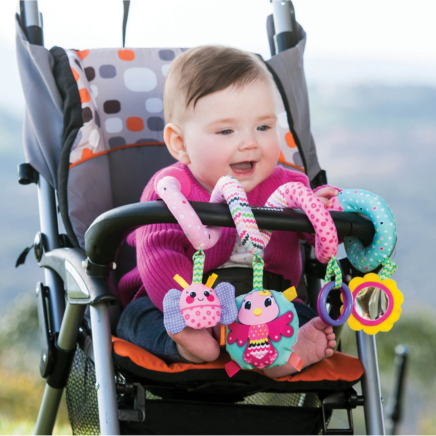 infantino spiral activity toy pink hanging baby toys car seat stroller toys ebay. Black Bedroom Furniture Sets. Home Design Ideas