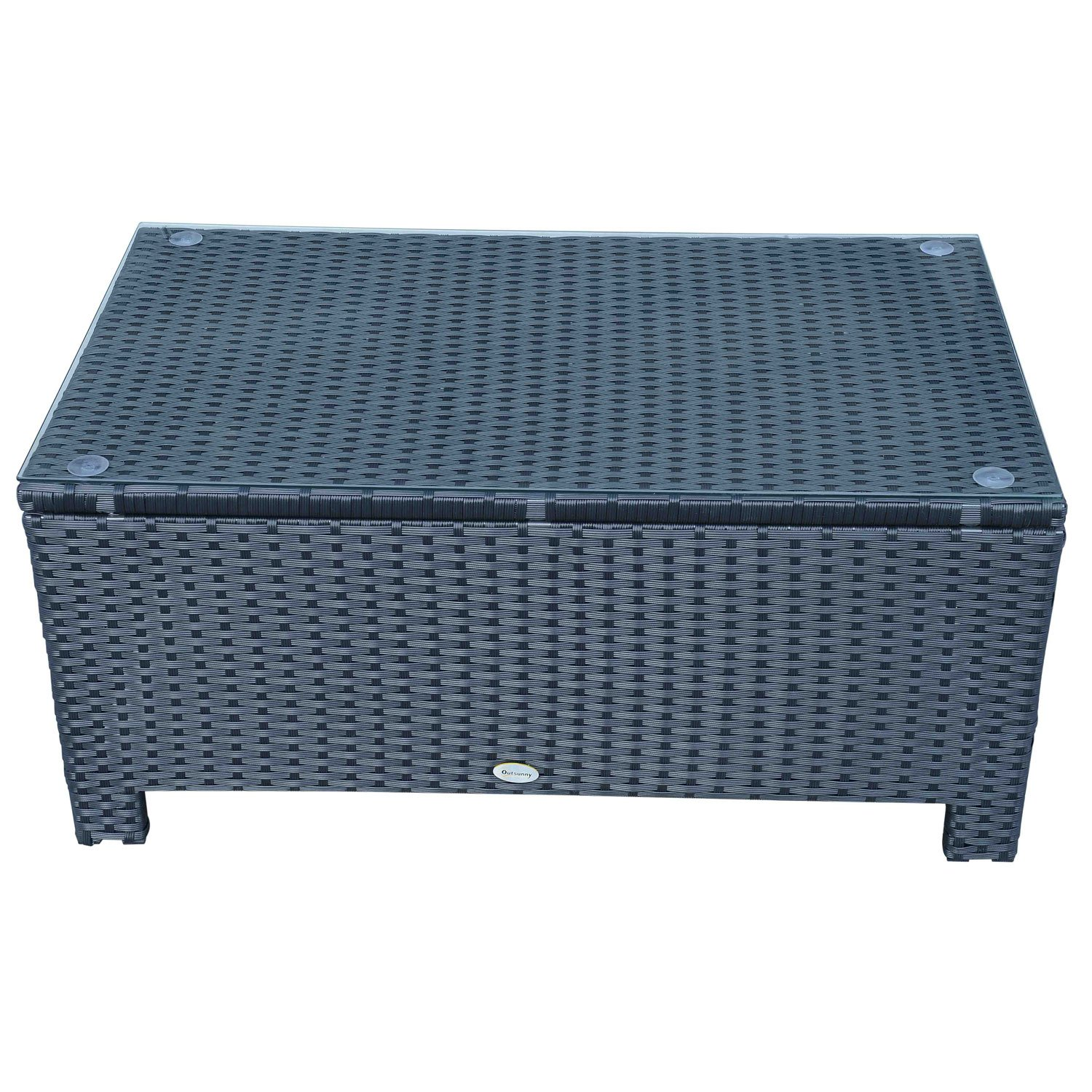 Outsunny Rattan Garden Furniture Coffee Table Patio Iron Frame