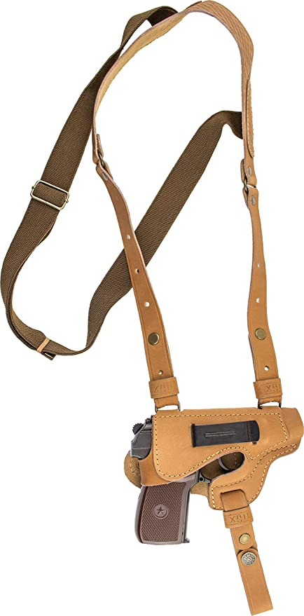 Shoulder holster for Makarov vertical brown genuine leather