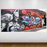 EXTRA GRANDE Graffiti nero Batman cultura vinil- Decalcomania Gigante da Parete - Adesivo a Base di Colla Vinilica - Quadri con Finestre - Adesivi da Parete - Vinile di Arte Murale - Quadri per Muro - Poster Giganti -140cm x 70cm