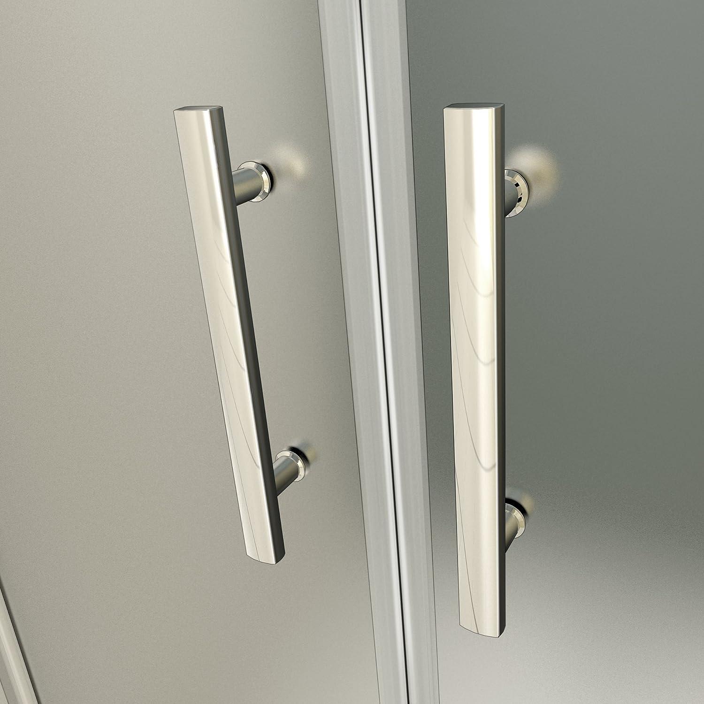 Porte de douche 95x187cm verre sabl/é et anticalcaire pivotante /à lext/érieur ou lint/érieur installation en niche