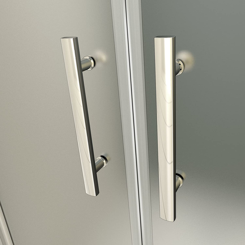 Porte de douche 110x187cm verre sabl/é et anticalcaire pivotante /à lext/érieur ou lint/érieur installation en niche