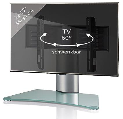 tout neuf 827f8 4ddda VCM Windoxa Meuble Colonne avec Pied en Verre pour TV Argent