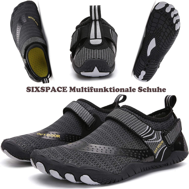 Sixspace Chaussures de bain antidérapantes pour homme femme enfant Noir 484