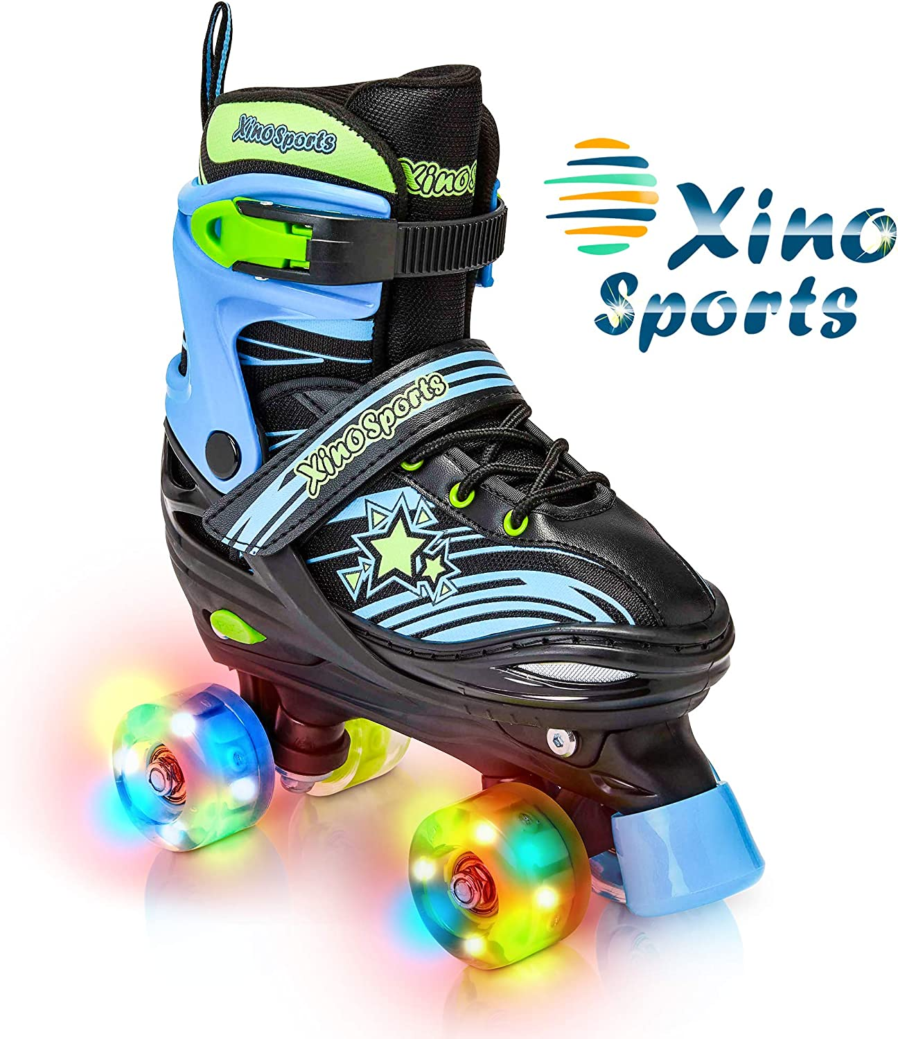Xino Sports Kids Adjustable Roller Skates for Girls & Boys with Light Up Wheels / US