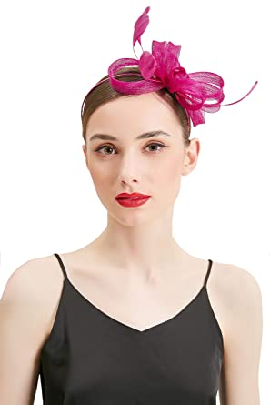 1f98824404949 HYASIA Women Vintage Derby Fascinator Hat Pillbox Headband Cocktail Tea  Party Rose Red at Amazon Women s Clothing store