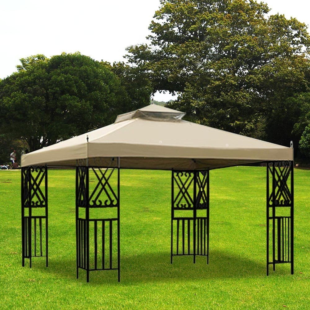 Beige Colored Dual-Tier Gazebo Replacement Canopy for 12x10 ftSunjoy L-GZ288PST-4D for Stadium Garden Courtyard Beach Camping Wedding Outdoor Party Event